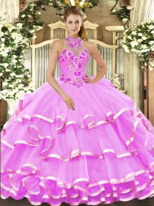 Lilac Halter Top Lace Up Beading and Embroidery 15 Quinceanera Dress Sleeveless