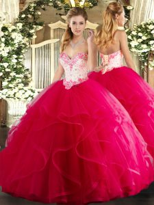 Hot Pink Sleeveless Tulle Lace Up Quinceanera Dress for Military Ball and Sweet 16 and Quinceanera