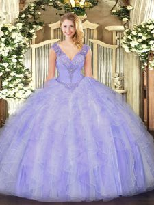 On Sale V-neck Sleeveless Quinceanera Gown Floor Length Beading and Ruffles Lavender Organza