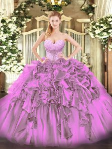 Affordable Floor Length Lilac Sweet 16 Dress Organza Sleeveless Beading and Ruffles
