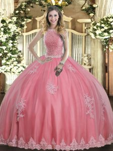 High-neck Sleeveless Lace Up Quinceanera Dress Baby Pink Tulle