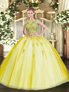 Custom Designed Sleeveless Floor Length Beading and Appliques Lace Up Quinceanera Gown with Yellow