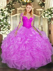 Stylish Long Sleeves Organza Floor Length Lace Up Sweet 16 Dress in Lilac with Lace and Ruffles