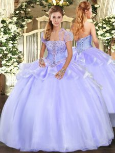 Free and Easy Organza Strapless Sleeveless Lace Up Appliques Sweet 16 Quinceanera Dress in Lavender