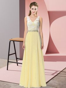 Light Yellow Chiffon and Lace Backless V-neck Sleeveless Floor Length Prom Dress Beading