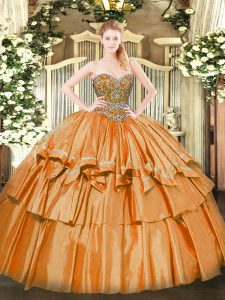 Suitable Sleeveless Lace Up Floor Length Beading and Ruffled Layers Ball Gown Prom Dress