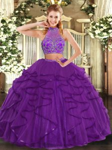 Floor Length Criss Cross Juniors Party Dress Purple for Military Ball and Sweet 16 and Quinceanera with Beading and Ruffled Layers