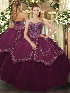 Shining Floor Length Ball Gowns Sleeveless Burgundy 15 Quinceanera Dress Lace Up