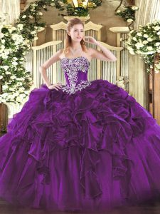 Dark Purple Strapless Neckline Beading and Ruffles 15 Quinceanera Dress Sleeveless Lace Up