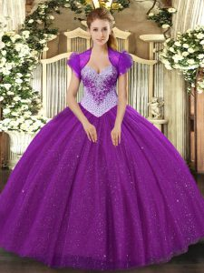 Eggplant Purple Lace Up Sweetheart Beading and Sequins Ball Gown Prom Dress Tulle Sleeveless