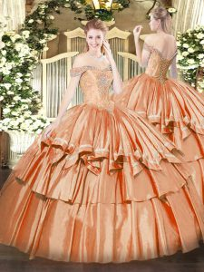Floor Length Lace Up Quinceanera Dresses Orange Red for Military Ball and Sweet 16 and Quinceanera with Beading and Ruffled Layers