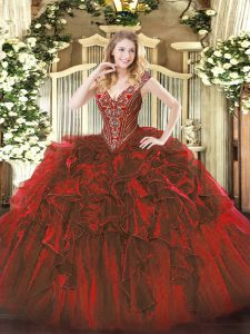 Wine Red Ball Gowns Beading and Ruffles Quinceanera Dresses Lace Up Organza Sleeveless Floor Length