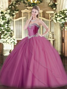 Graceful Lilac Sleeveless Beading Lace Up Quince Ball Gowns
