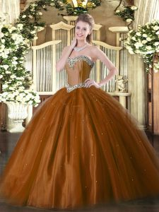 Rust Red Ball Gowns Sweetheart Sleeveless Tulle Floor Length Lace Up Beading Sweet 16 Dress