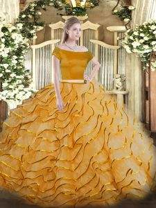 Orange Off The Shoulder Neckline Appliques and Ruffled Layers Quinceanera Gowns Short Sleeves Zipper