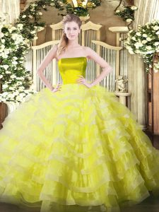 Floor Length Yellow 15th Birthday Dress Strapless Sleeveless Zipper