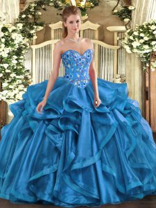 Sexy Blue Ball Gowns Sweetheart Sleeveless Organza Floor Length Lace Up Embroidery and Ruffles Sweet 16 Dress