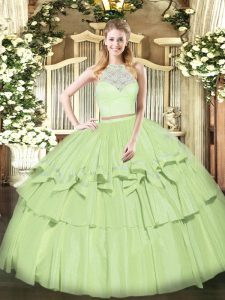 Custom Designed Sleeveless Floor Length Lace and Ruffled Layers Zipper Quinceanera Dress with Olive Green