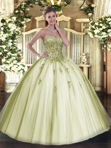 Sweetheart Sleeveless Party Dress Wholesale Floor Length Beading Olive Green Tulle