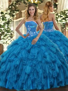 Low Price Baby Blue Strapless Neckline Beading and Ruffles Quinceanera Gowns Sleeveless Lace Up