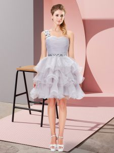 Flare A-line Homecoming Dress Grey One Shoulder Organza Sleeveless Mini Length Lace Up