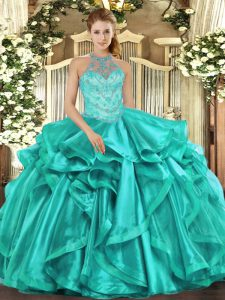 Floor Length Ball Gowns Sleeveless Turquoise 15 Quinceanera Dress Lace Up