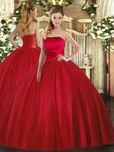 Glamorous Ball Gowns 15 Quinceanera Dress Red Strapless Tulle Sleeveless Floor Length Lace Up