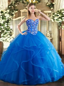 Delicate Tulle Scoop Sleeveless Lace Up Embroidery and Ruffles Quinceanera Gowns in Royal Blue