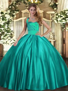 Fancy Turquoise Ball Gowns Halter Top Sleeveless Satin Floor Length Lace Up Ruching Sweet 16 Dresses