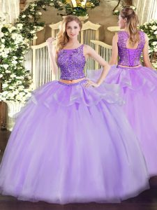 Designer Floor Length Lace Up Quinceanera Gowns Lavender for Military Ball and Sweet 16 and Quinceanera with Beading