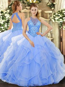 Light Blue Lace Up Ball Gown Prom Dress Beading and Ruffles Sleeveless Floor Length