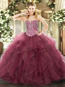 Sweetheart Sleeveless Tulle Quinceanera Gown Beading and Ruffles Lace Up