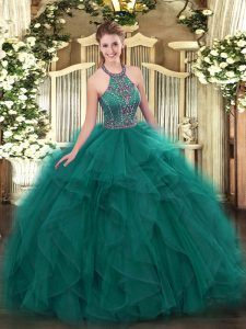 Ideal Halter Top Sleeveless Tulle 15 Quinceanera Dress Beading and Ruffles Lace Up