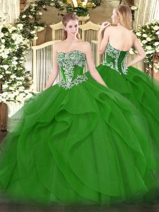 Fitting Green Sleeveless Floor Length Beading and Ruffles Lace Up Quinceanera Dresses