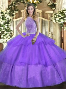 High-neck Sleeveless Quinceanera Gowns Floor Length Beading and Ruffled Layers Lavender Tulle
