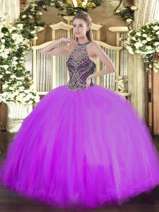 Fashion Lilac Lace Up Halter Top Beading Sweet 16 Quinceanera Dress Tulle Sleeveless