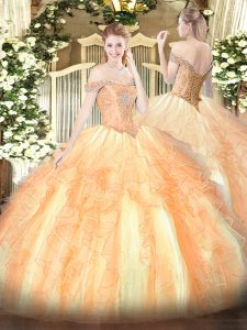 Fabulous Off The Shoulder Sleeveless Tulle 15 Quinceanera Dress Beading and Ruffles Lace Up