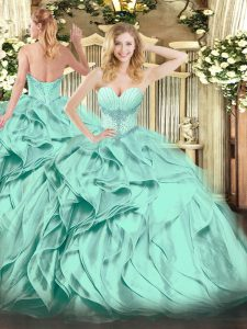 High End Sleeveless Lace Up Floor Length Beading and Ruffles Quinceanera Gown
