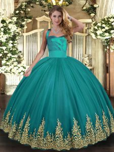 Simple Turquoise Sleeveless Tulle Lace Up 15th Birthday Dress for Military Ball and Sweet 16 and Quinceanera