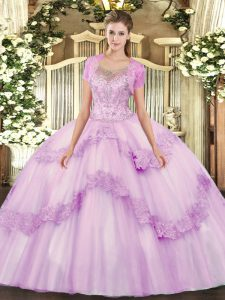 Sleeveless Floor Length Beading and Appliques Clasp Handle Sweet 16 Dress with Lilac