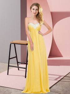 Fantastic Gold Chiffon Lace Up Sweetheart Sleeveless Floor Length Prom Evening Gown Ruching
