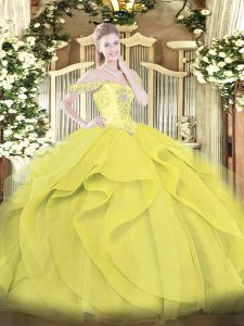Gorgeous Yellow Off The Shoulder Lace Up Beading and Ruffles Quinceanera Dress Sleeveless