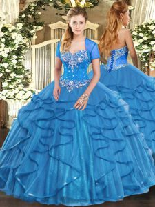 Glittering Baby Blue Tulle Lace Up 15th Birthday Dress Sleeveless Floor Length Beading and Ruffles