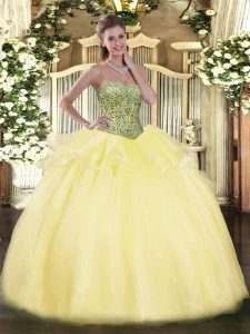 New Style Sweetheart Sleeveless Quinceanera Dresses Floor Length Beading and Ruffles Light Yellow Tulle