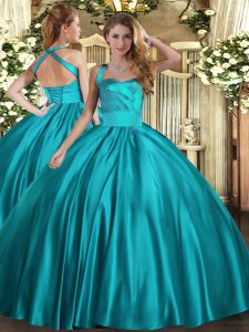 Beautiful Ball Gowns Quince Ball Gowns Teal Halter Top Satin Sleeveless Floor Length Lace Up