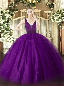 Graceful Purple Zipper Straps Beading Quinceanera Gowns Tulle Sleeveless
