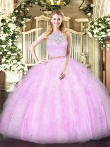 Decent Floor Length Two Pieces Sleeveless Lilac Quinceanera Dresses Zipper
