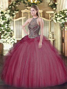 Burgundy Ball Gowns Beading Quinceanera Gown Lace Up Tulle Sleeveless Floor Length