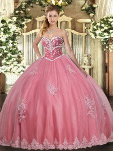 Colorful Watermelon Red Sleeveless Beading and Appliques Floor Length Quince Ball Gowns