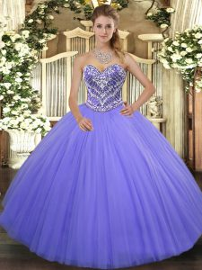 Tulle Sleeveless Floor Length Quinceanera Dress and Ruffles